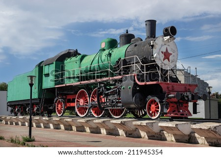 Monument to Russian steam locomotive, built in 1949, Nizhny Novgorod, Russia