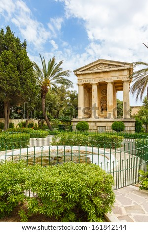 Monument to Sir Alexander Ball in the Lower Barrakka Gardens, Valletta, Malta - stock photo