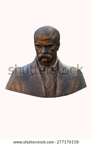 Monument to Taras Shevchenko on a white background. Bust. Taras Shevchenko was a Ukrainian poet, writer, artist, public and political figure, as well as folklore and ethnography.