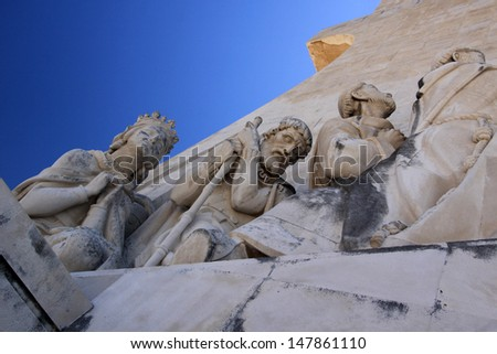 Monument to the Discoveries by Portuguese artists, architect Cottinelli Telmo and sculptor Leopoldo de Almeida (original artwork 1940 - rebuilt 1960) in Lisbon. - stock photo