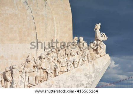 Monument to the Discoveries in Lisbon with Henry the Navigator, King of Portugal, and cloudy sky