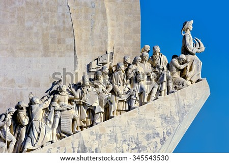 Monument to the Discoveries - white stone ship shaped monument hailing Prince Henry and the Portuguese that Discovered the Roads of the Sea, Portugal  - stock photo