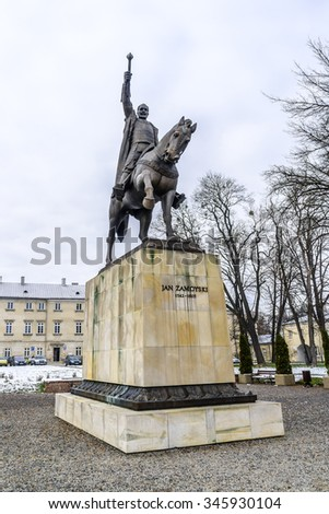 "Monument to the founder of Zamosc city - Jan Zamoyski. Zamosc - example of a Renaissance town in Central Europe, designed with Italian theories of ""ideal town"", UNESCO World Heritage List. Poland."