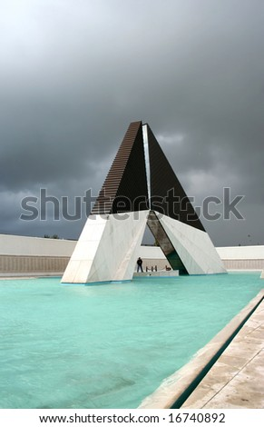 monument to the heroes from the war - Lisbon - Portugal - stormy day