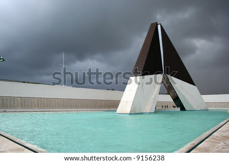 monument to the heroes from the war - Lisbon - Portugal (stormy day)