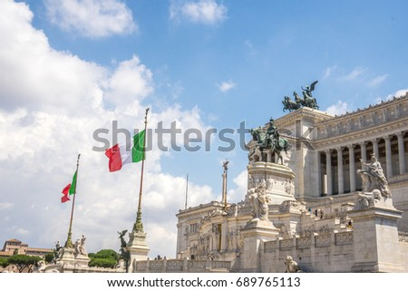Monument to Victor Emmanuel II in Venice Square Rome Italy