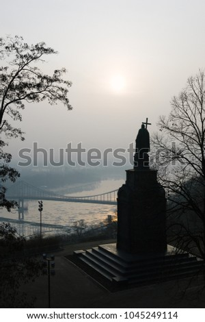 Monument to Vladimir the Great. Historic landmark. View of the Dnipro River. The city of Kyiv, Ukraine