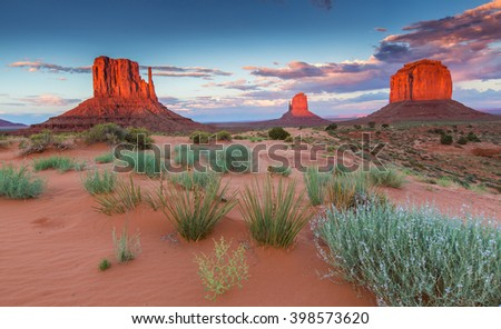 Monument Valley, Arizona, scenery, profiled on sunset sky - stock photo