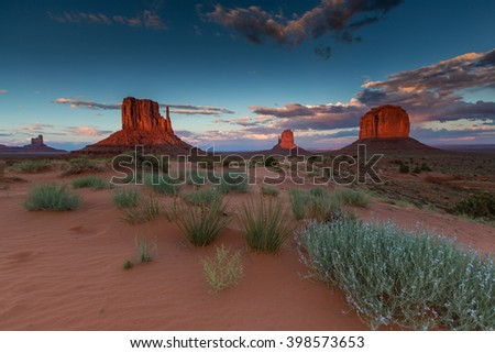 Monument Valley, Arizona, scenery, profiled on sunset sky