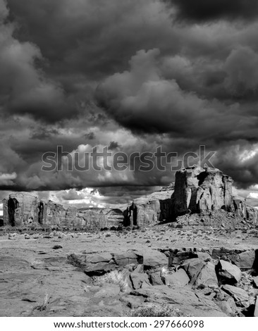 Monument Valley Arizona with evening cloudy skies