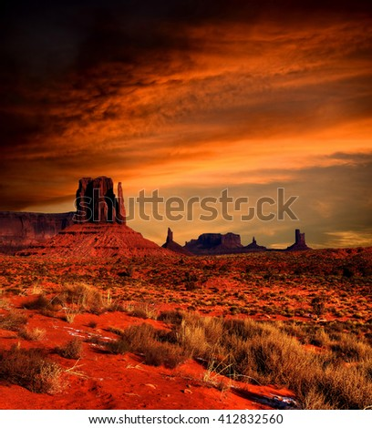 Monument Valley Arizona with evening sunset skies - stock photo