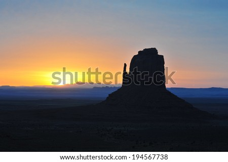 Monument Valley at Sunrise in April 2014. - stock photo
