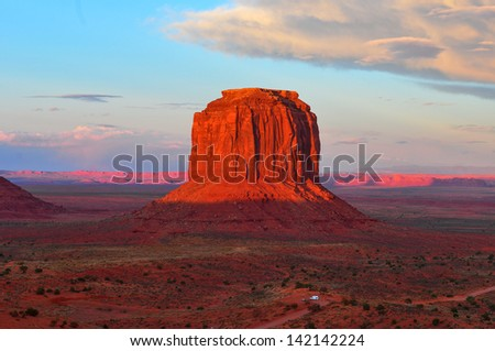 Monument Valley at Sunset. - stock photo