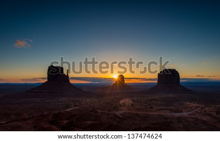 Monument Valley in the morning - stock photo