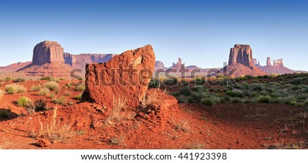 Monument Valley in the morning red light