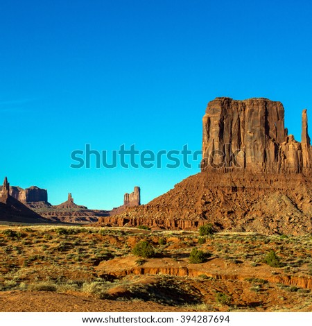 Monument Valley in warm evening light - stock photo