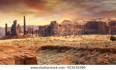 monument valley landscape in the sunset light - stock photo