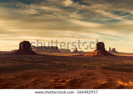 Monument Valley national park before Sunset.