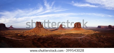 Monument Valley Navajo Tribal Park at dusk - stock photo