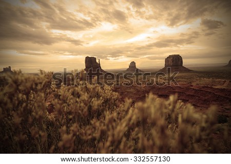 Monument Valley old west landscape in the southwest - stock photo