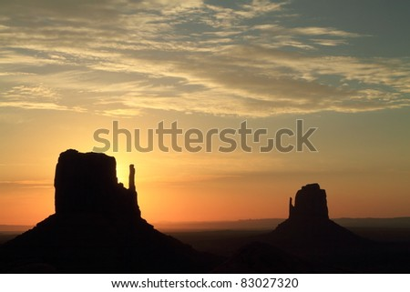 Monument Valley's mittens at sunrise