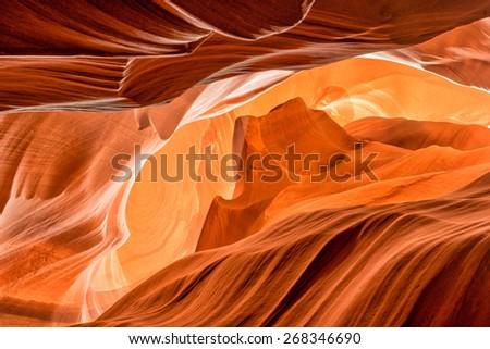 Monument valley shape inside Arizona Antelope Canyon wonderful light - stock photo