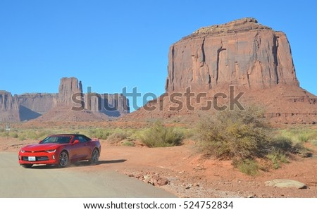 Monument Valley , Utah- November 1: Road Trip at Monument Valley Tribal Park in Utah USA on November 1, 2016. Thousands of people visit the famous tribal park each year.