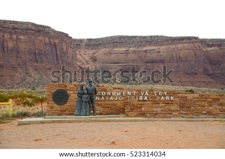 Monument Valley - Utah - Novemrber 1: Monument Valley Tribal Park Entrance Sign in Utah, USA on November 1, 2016. The famous tribal park is visited by millions of people every year.