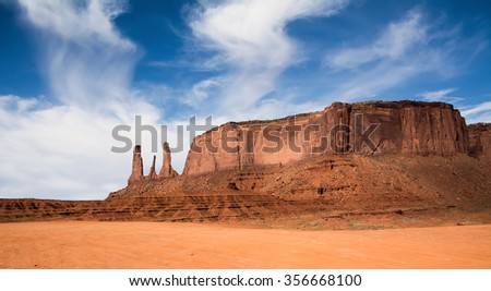 MONUMENT VALLEY, UTAH/USA - MAY 12, 2015: The Three Sisters rock formation in Monument Valley