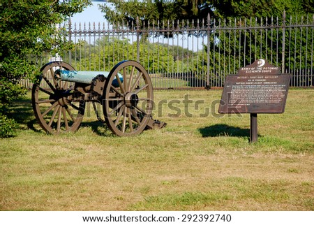 Monument with Cannon in Gettysburg, Pennsylvania, United States - stock photo