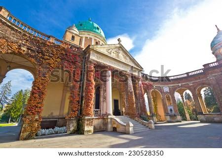 Monumental arcades of Mirogoy cemetary of Zagreb, Croatia - stock photo