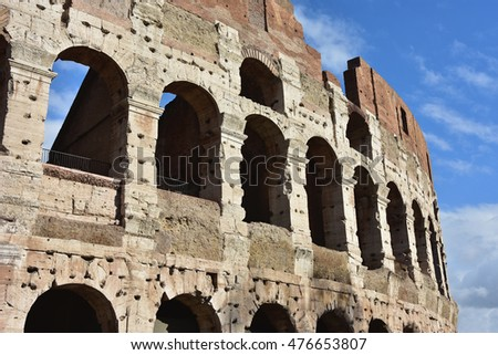 Monumental arches of Coliseum southern facade, in Rome