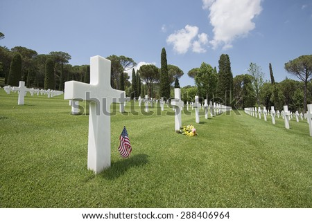monumental cemetery of World War II in Florence - stock photo