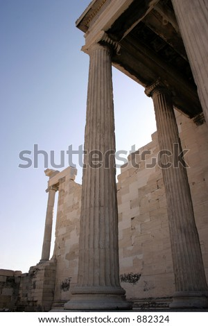 Monumental ionian columns of the Erechteion.