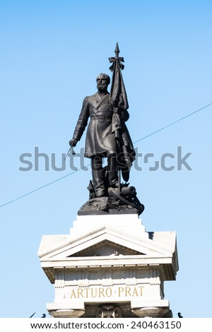 Monumento a los Heroes de Iquique in Plaza Sotomayor, Valparaiso, Chile. - stock photo