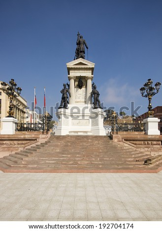 Monumento a los Heroes de Iquique in Plaza Sotomayor, Valparaiso, Chile. Memorial to the crew of the Esmerelda who were killed in the battle of Iquique in 1879. - stock photo