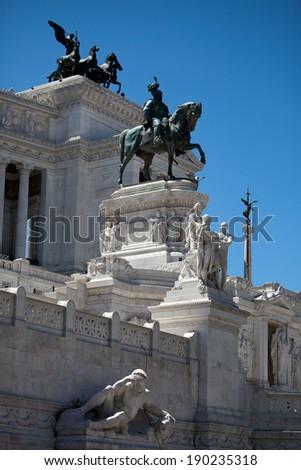 Monumento Nazionale a Vittorio Emanuele II - National Monument to Victor Emmanuel II - Il Vittoriano Roma, Italy - stock photo