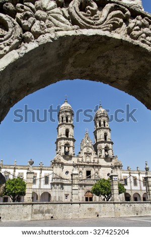 Monuments of Guadalajara, Jalisco, Mexico. Basilica de Zapopan. - stock photo