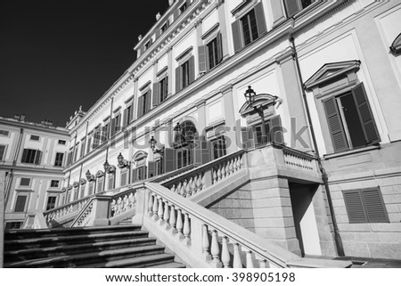 Monza (Brianza, Lombardy, italy): facade of the historic royal palace. Black and white - stock photo