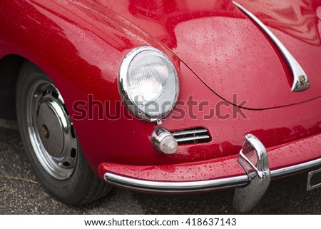 MONZA, ITALY - APRIL 24, 2016: Old classic red Porsche car