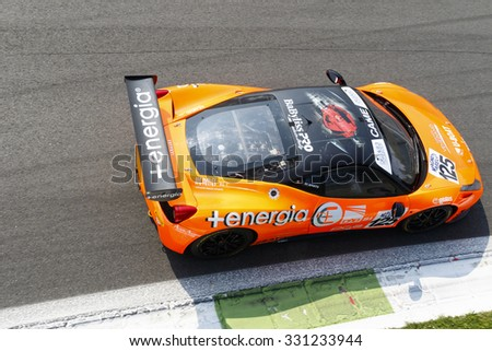 Monza, Italy - May 30, 2015: Ferrari 458 of Sport Made in Italy team, driven  by DI AMATO Renato during the C.I. Franturismo - Race in Autodromo Nazionale di Monza Circuit
