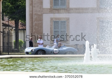 MONZA (MB), ITALY - MAY 17: A blue Jaguar D type takes part to the 1000 Miglia classic car race on May 17, 2015 before the Villa Reale in Monza (MB). The car was built in 1955. - stock photo