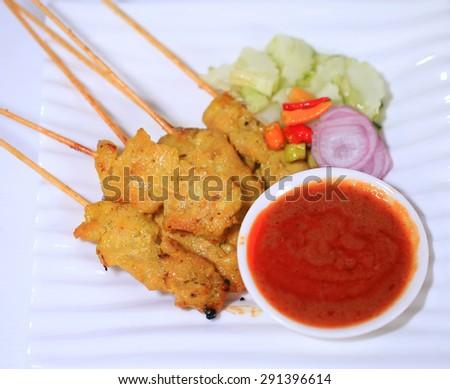 moo satay, pork satay, thai cuisine,thai food.  - stock photo