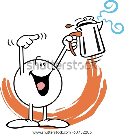 Moodie character,  smiling broadly, raising a staming coffee pot over his head with one hand and pointing to it with the other