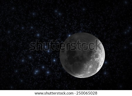 Moon among thousands stars in deep space. Mosaic taken through my telescope. - stock photo