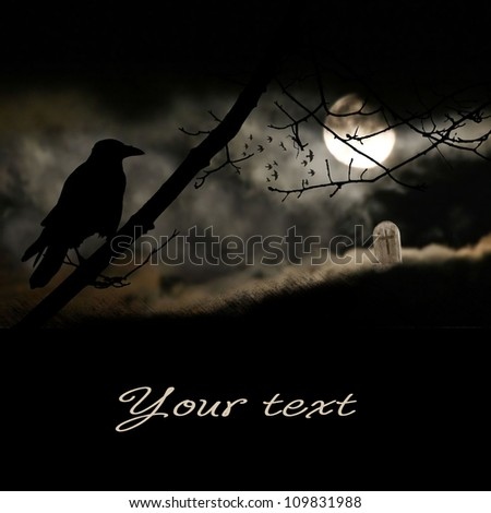 moon and black raven - stock photo