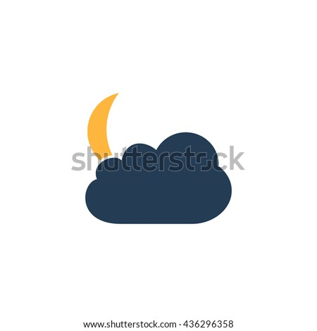 Moon and clouds. Color simple flat icon on white background - stock photo