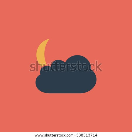 Moon and clouds. Colored simple icon. Flat retro color modern illustration symbol - stock photo