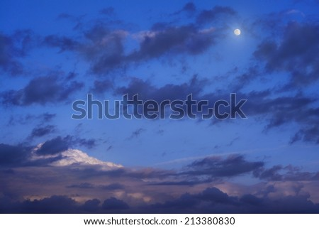 moon and clouds night sky - stock photo