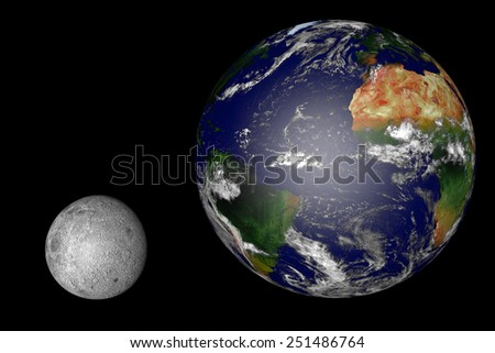 moon and earth in realistic size dimensions: computer generated image of planet earth in space. Elements of this image furnished by NASA. - stock photo